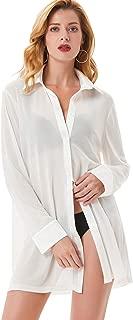 Women's Sexy Sleep Shirts Mesh Long Sleeve Swimwear Cover Up Sheer Blouse Lingerie S-XXL