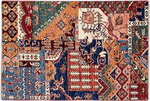 Lifetex.eu Teppich Samarkand Patchwork ca. 80 x 115 cm Bunt handgeknüpft Schurwolle Modern hochwertiger Teppich