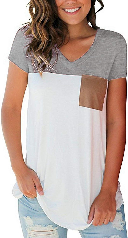 IGENJUN Women's Short Sleeve color Block V Neck T Shirt with Suede Pocket