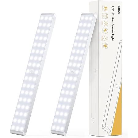 Racokky LED Sensor Licht 50 LEDs,Schrankbeleuchtung,Wiederaufladbar Dimmbare Schranklicht mit Bewegungsmelder,LED Küchenleuchte,Weiches Licht für Kleiderschrank,Treppe(2 Stück)