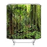 LB Grün Wald Duschvorhang 150x180CM Tropischer Dschungel Duschvorhänge mit Haken,Grüne Blatt Palme Baum Bad Vorhang Polyester Wasserdicht Anti Schimmel Badezimmer Gardinen