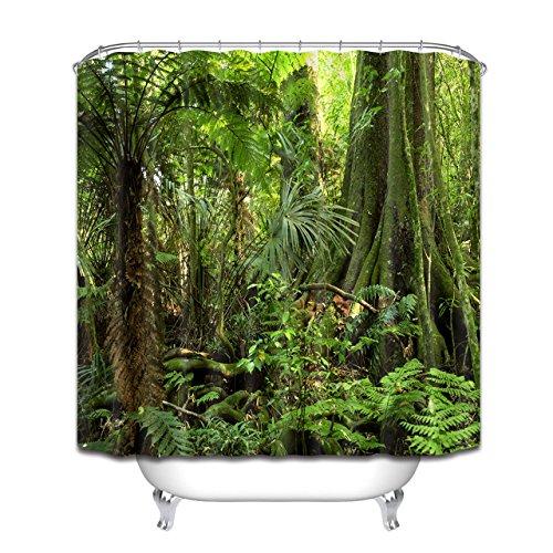 LB Grün Wald Duschvorhang 150x180CM Tropischer Dschungel Duschvorhänge mit Haken,Grüne Blatt Palme Baum Bad Vorhang Polyester Wasserdicht Anti Schimmel Badezimmer Vorhänge