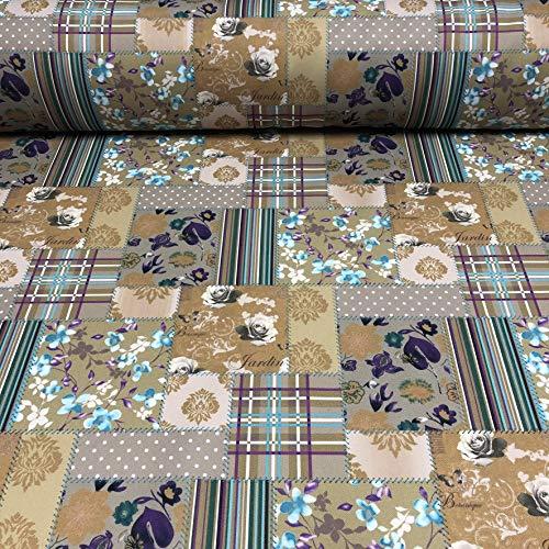 Polsterstoff Dekostoff 0,5lfm 148cm breit Muster Patchwork Floral Blumen 06