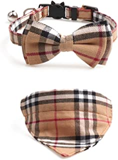 PetFavorites Breakaway Bowtie Cat Collar with Bell - Plaid Bandana Kitten Collar for Kitty Teacup Puppy, Adjustable, 2 Pack (Brown, 7.8 to 10.2-Inch)