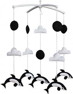 Mobile Berceau Mobile Bébé pour bébé en pour décor de pépinière Cadeau de Noël Noir et blanc