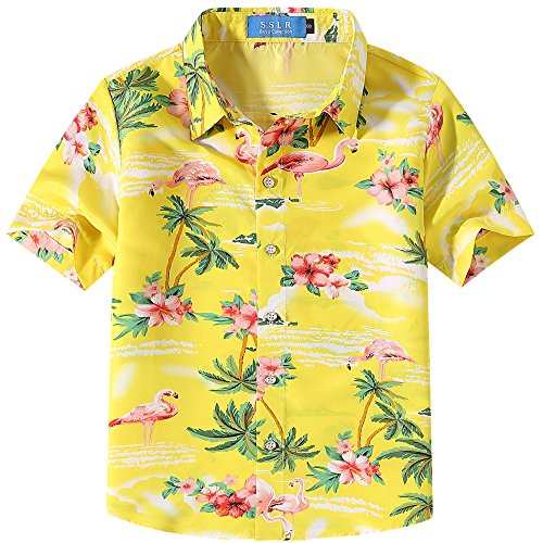 SSLR Camisa Manga Corta con Estampado de Flamencos y Flores Estilo Hawaiana para Niño (Small, Amarillo)