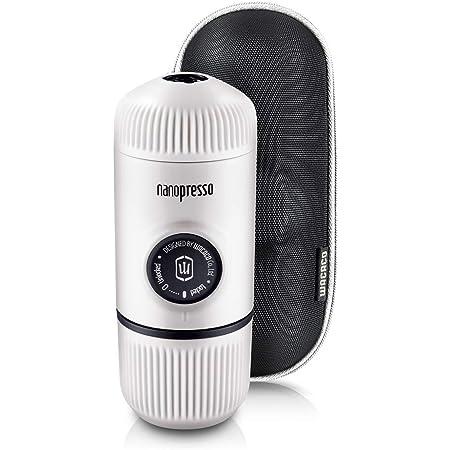 WACACO Nanopresso máquina de café espresso portátil con protectora Nanopresso S-Case adjunto, actualización de la de Minipresso, Cafetera de viaje, Operado manualmente (Nuevos Elementos Frío Blanco)
