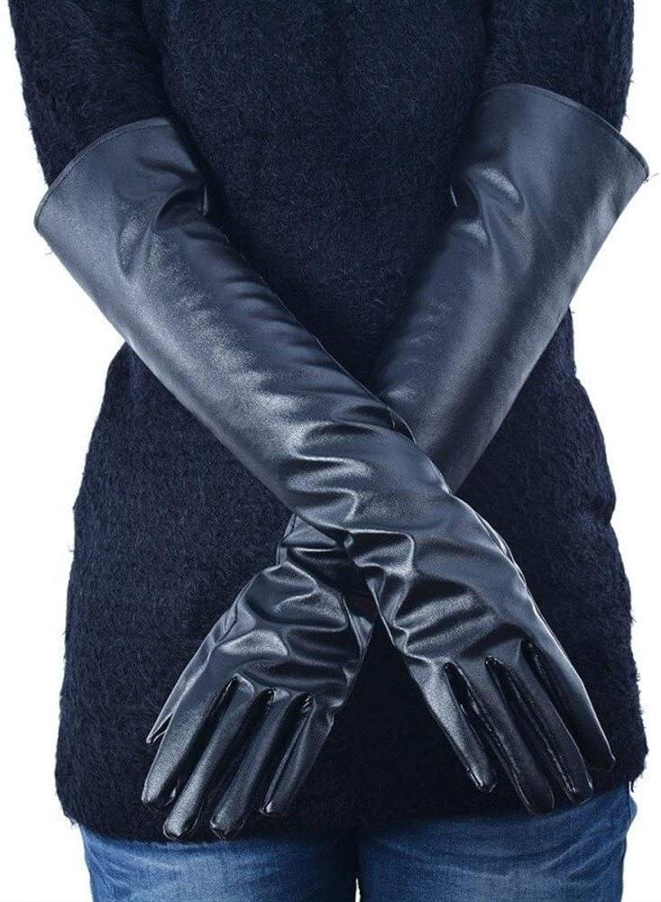 HABADOG Women's Leather Elbow Gloves Winter Long Gloves Warm Lined Finger Gloves (Color : Black, Gloves Size : XL)
