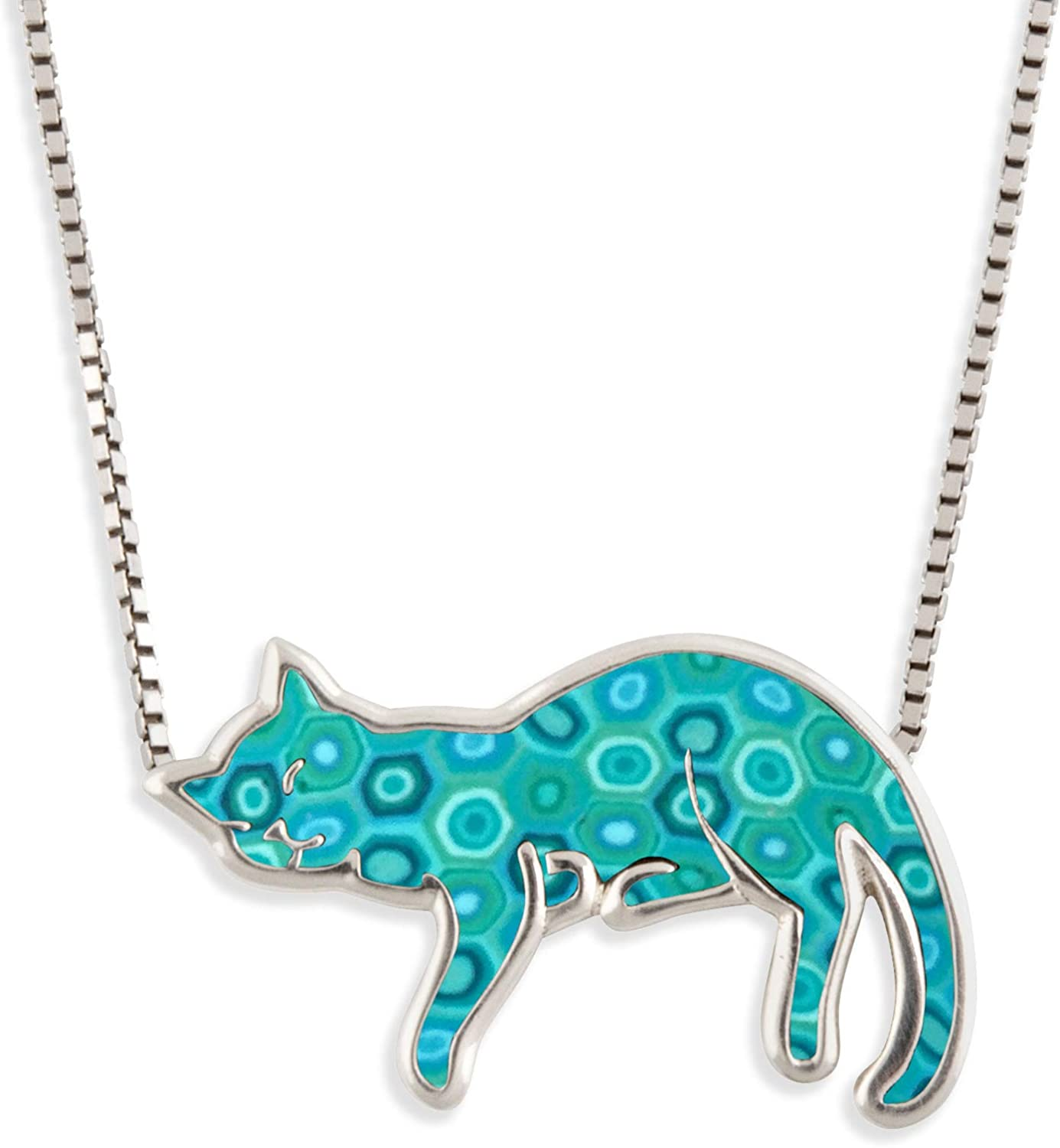 925 Sterling Silver Sleeping Fresno Mall Cat Lover for Necklace Pet Choice Pendant