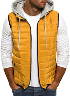 26099eac1f8 Karlywindow Mens Casual Puffer Vest Removable Hooded Quilted Sleeveless  Jackets