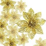 KAHEIGN 30 Piezas Poinsettia De Brillo Navideño, 7.5 /10 /15cm Ornamento Del árbol De Navidad Adorno De Decoración De Flores De Navidad Para Guirnaldas De Guirnaldas (Oro)