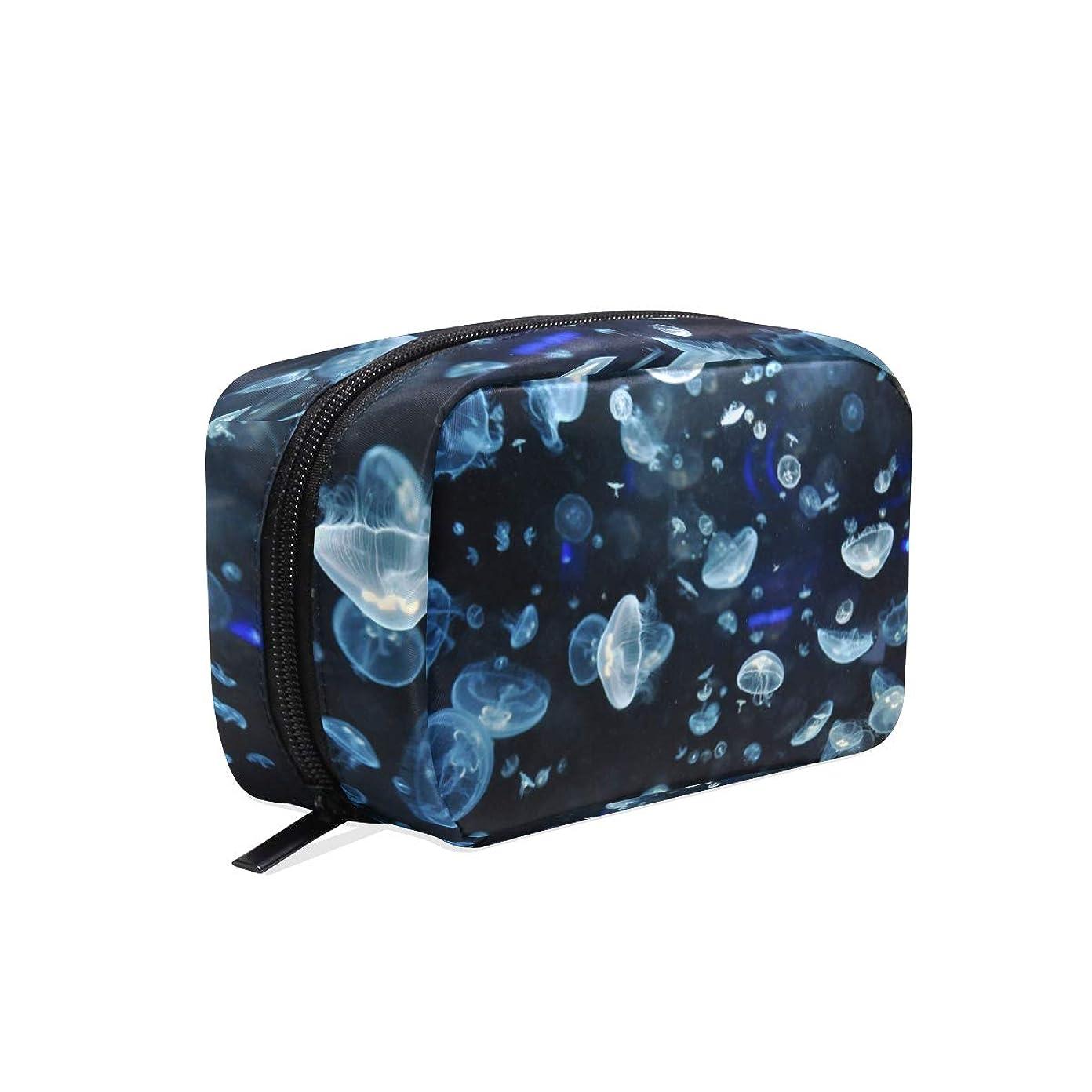 溶かす栄光の申込みクラゲ 柄 化粧ポーチ メイクポーチ 機能的 大容量 化粧品収納 小物入れ 普段使い 出張 旅行 メイク ブラシ バッグ 化粧バッグ