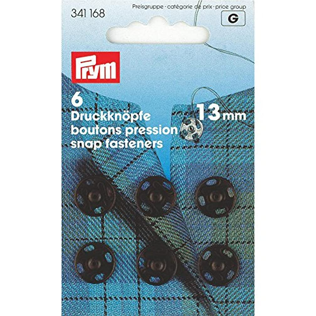 PRYM 13 mm 6 Set Brass Sew On Snap Fasteners, Black - 341168