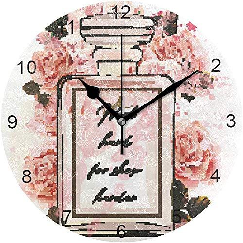 Stille Ronde Mode Wandklok Home Decoratie Voor Office Slaapkamer Keuken Woonkamer Aquarel Bloem Parfum Niet Teken