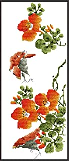 YEESAM ART New Cross Stitch Kits Advanced Patterns for Beginners Kids Adults - Four Seasons Spring Flowers Blossom - DIY Needlework Wedding Christmas Gifts (Spring, Stamped)