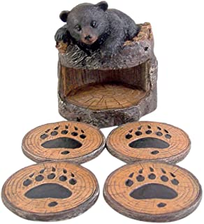 Black Bear Coaster Holder With 4 Coaster Set