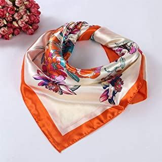 NJTSXLM Autumn Winter Floral Printed Women Lady Square Scarf Head Wrap Fashion Kerchief Neck Satin Shawl Elegant Scarf (Color : Orange)