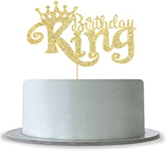 Gold Glitter King Birthday Cake Topper for 1st 3rd 10th 16th 18th 20th 21st 25th 29th 30th 40th 50th Birthday, Man Boy Prince Birthday Party Decorations,Happy Birthday Cake Topper
