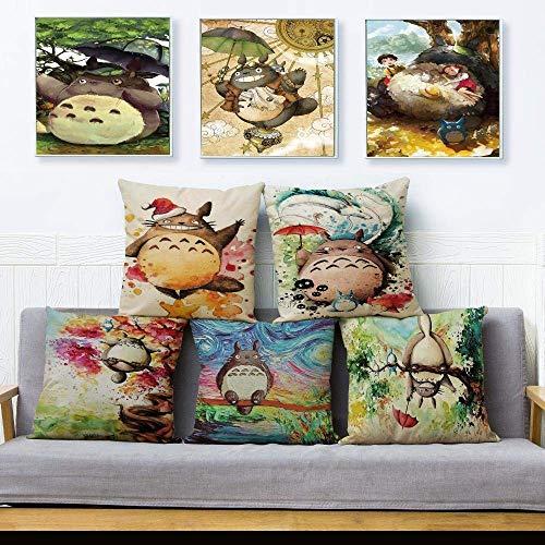 Funda de cojín JKS&BDUE con 5 juegos de acuarelas y bonitas fundas de cojín Totoro, decoración, anime japonés, funda de cojín para sofá, funda para asiento de coche 45 x 45 cm