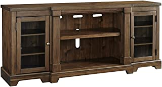 Signature Design by Ashley Flynnter Extra Large TV Stand with Fireplace Option Medium Brown