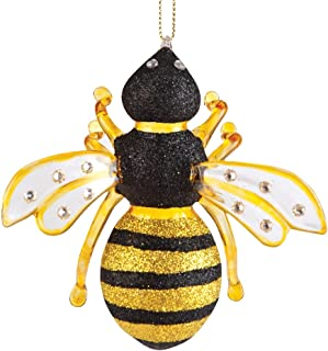 C&F Home Gallerie II Glass Bumble Bee Hives Nest Yellow Black Fuzzy Nectar Flowers Christmas Tree Ornament