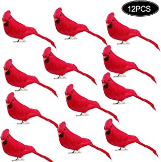 Pannow Set of 12 Cardinal Clip On Christmas Tree Ornament Bird Decorations,Red Velvet & Feathers,Red Birds Centerpieces for Crafts DIY Holiday DÃcor