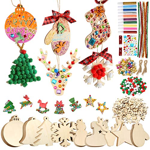 Pllieay 150 Pieces Wooden Slices Unfinished Wooden Christmas Ornaments for Christmas Decorations, DIY Party Craft and Card Making