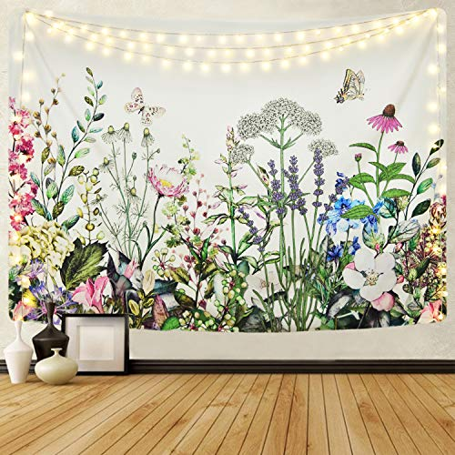 Alishomtll Floral Plant Tapestry Colorful Herb Tapestries Wild Flower Plants Tapestry Nature Scenery Butterfly Tapestries for Room (51.2 x 59.1 inches)
