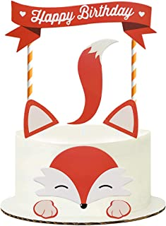 Sunsor Woodland Theme Fox Cake Topper Smash Cake Decoration Supplies for Baby Shower Birthday Party Favors