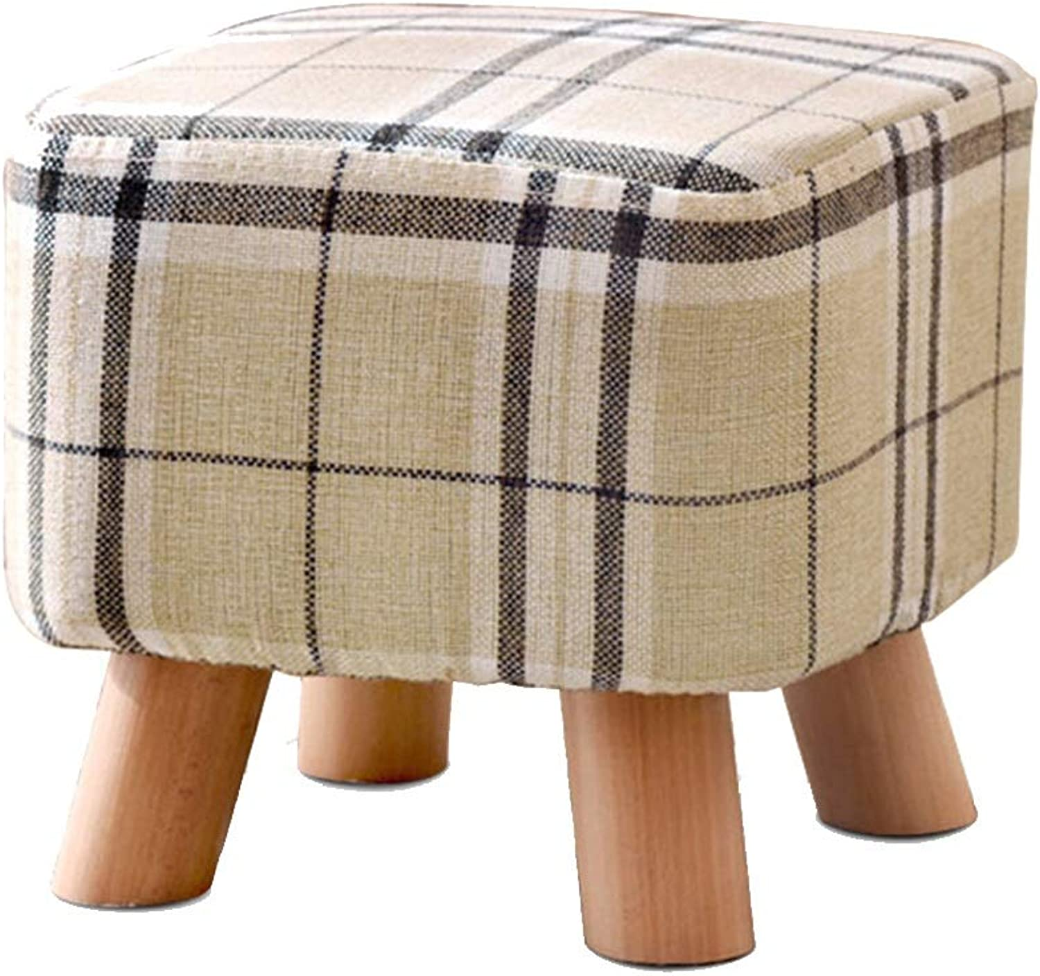 Small Stool-Four-Legged Solid Wood Stool Fabric Fabrics Yan Yan Fangduan Stools for shoes Benches FENPING (color   Stripe, Size   28  26cm)