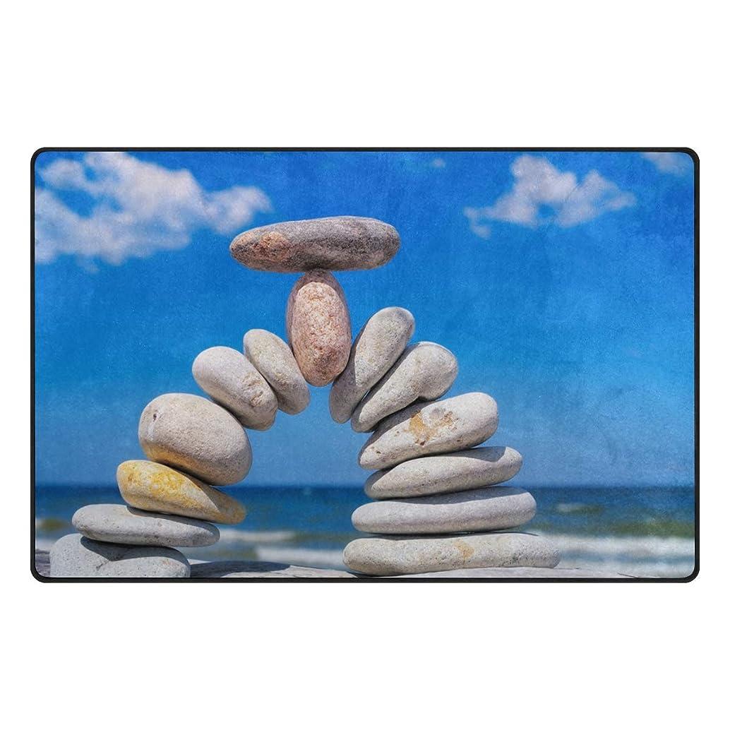pengyong Balancing Stone Blue Sky Non-Slip Floor Mat Home Decor Door Carpet Entry Rug Door Mat for Outdoor/Indoor Uses