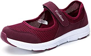 CHOKNESS Women's Casual Walking Sneakers - Lightweight Breathable Flat Shoes (7 Red)