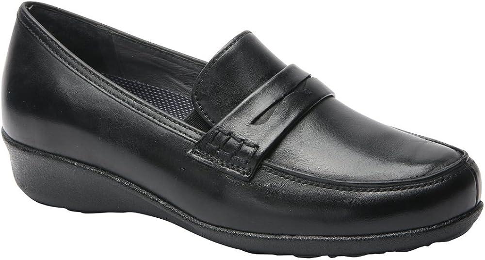 Drew Shoe Women's Berlin Slip On Loafers, Black, Leather, 8 N