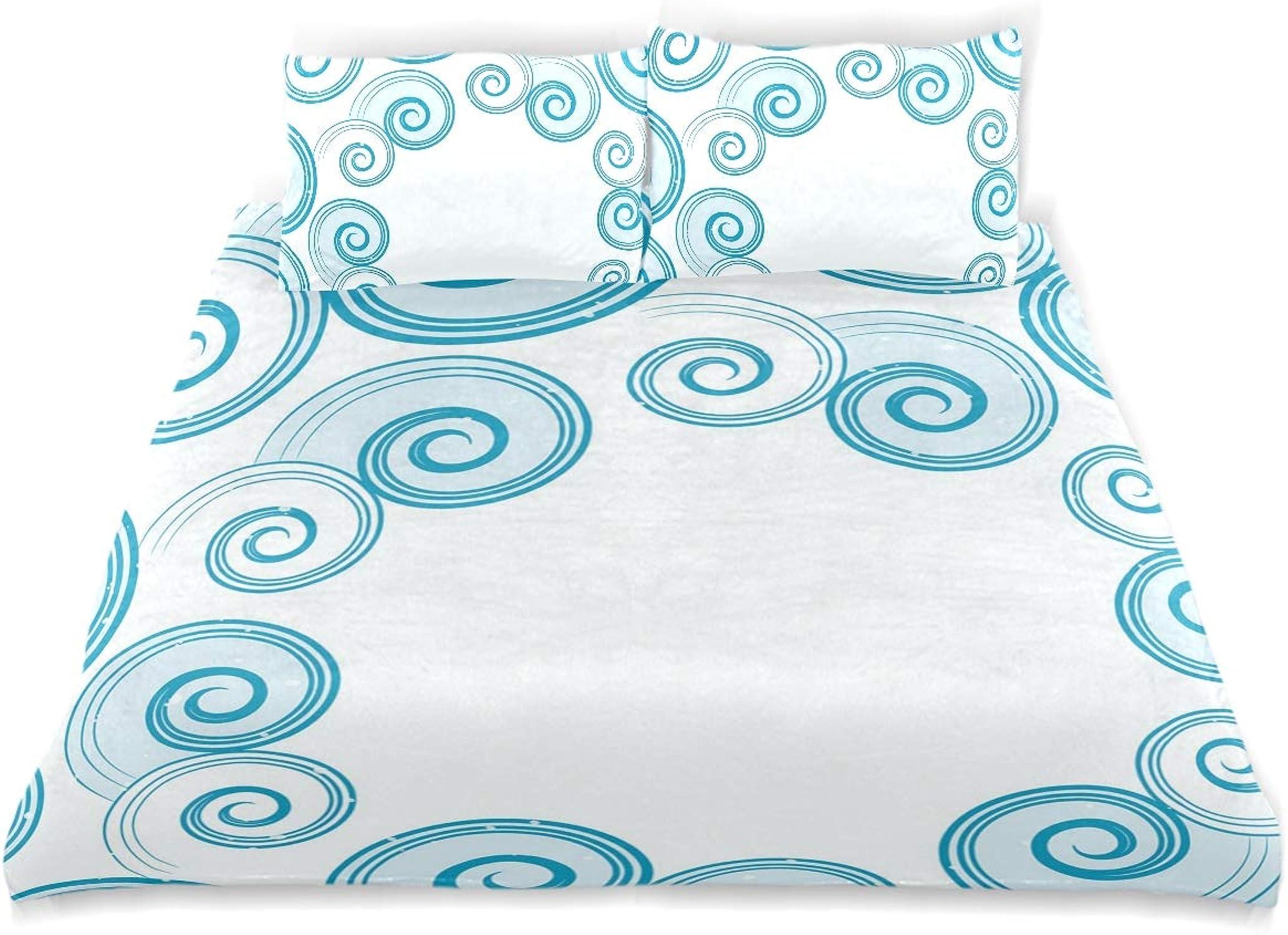 Minalo Parure de lit 3 pièces avec Housse de Couette et 2 taies d'oreiller Motif Vagues Bleu Sarcelle et Blanc, Tissu, Simple