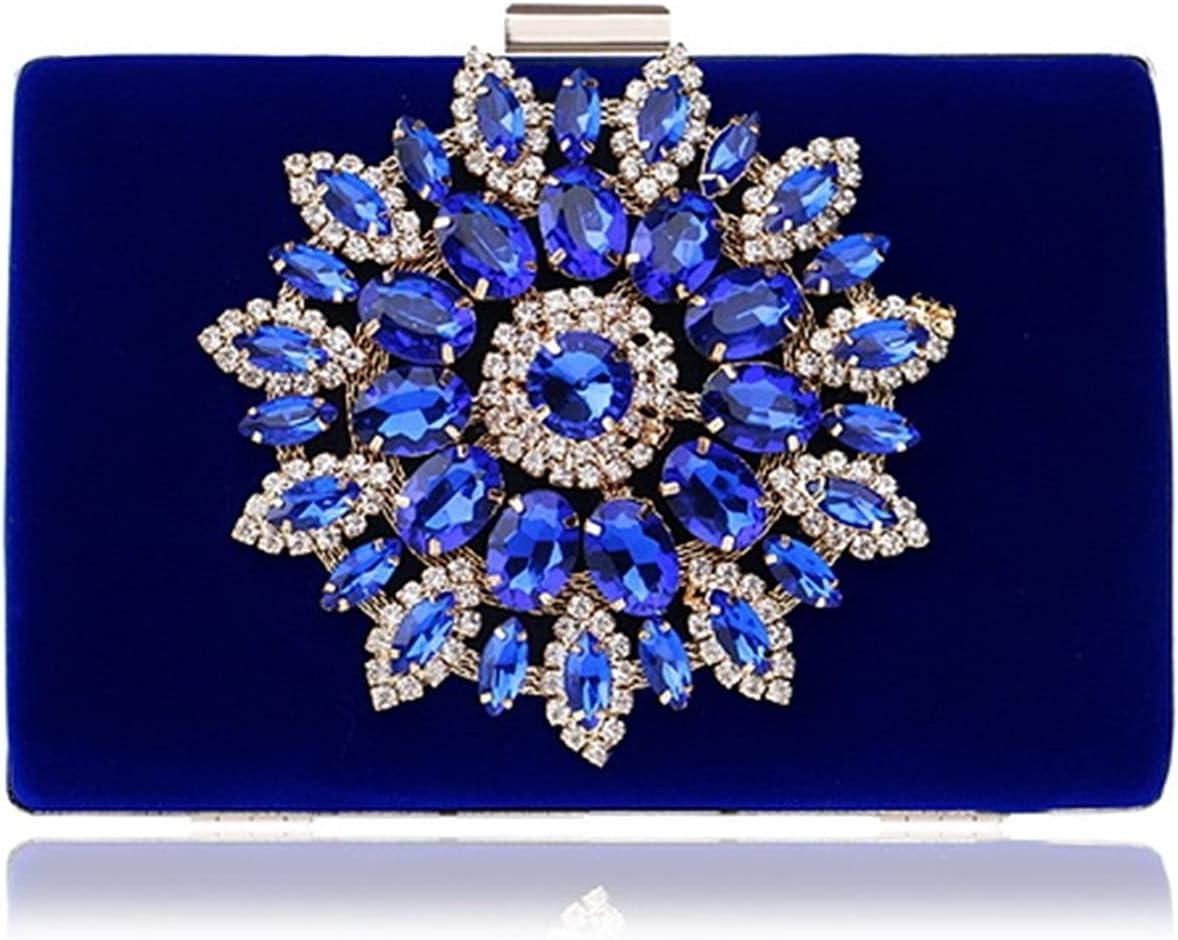 Qiyan Luxury Women Evening Bags Rhinestones Flower Small Day Clutch Party Diamonds Lady Dress Shoulder Chain Handbags for Purse (Color : YM1061blue, Size : Mini(Max Length(20cm))