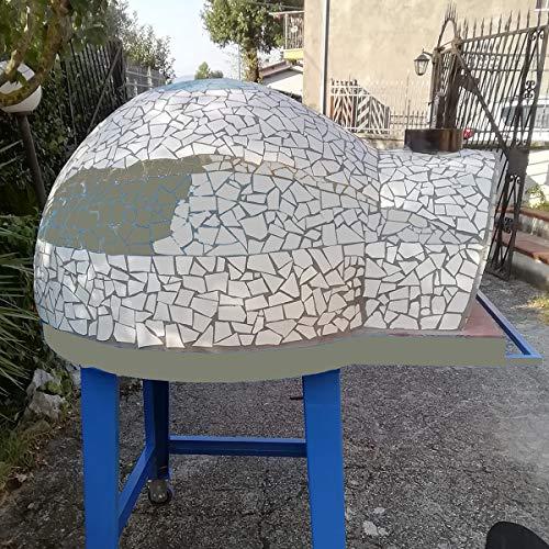 Genèrico Garden 80 – Horno de leña profesional refractario para jardín exterior de 80 cm – Color gris (4 pizzas)