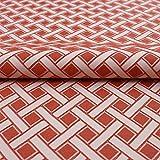 Hans-Textil-Shop Stoff Meterware Karo Terracotta Creme