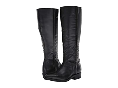 Frye Billy Inside Zip Tall (Black Extended Full Grain Leather) Women