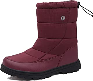EXEBLUE Men Women's Winter Snow Boots,Unisex Water-Resistant Mid Calf Boots with Fur Lining Outdoor