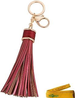 Girl Women Artificial Leather Tassels Keychain Circle Keys Ring Handbag Decoration Purse Hanging Addition Car Pendant Gift (Burgundy)