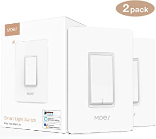 MOES WiFi Smart Light Switch Smart Life/Tuya APP Remote Control,Compatible with Alexa Google Home for Voice Control,No Hub Required ETL Listed(2 Pack)