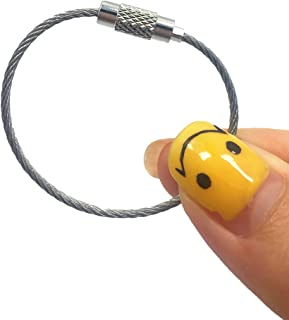 8pcs Stainless Steel Cable Key Ring Keychain with Screw Lock for Outdoor Sports (110mm)