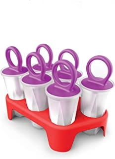 Zoku Ring Pop Molds, Tray of 6 Popsicle Molds With Ring-handles and Drip Guards, Easy Release, BPA-free