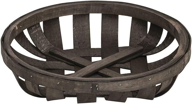 Hubert Tobacco Basket Round Chip Wood 12 1 2 Dia X 2 3 4 H