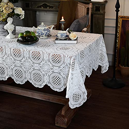 ARTABLE Rectangle Lace Tablecloth White Embroidered Macrame Table Protector with Vintage Floral Pattern Embroidered Oblong Tablecloths for Christmas Wedding Holidays Party Decor (White, 60 x 87 Inch)