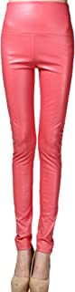 Elonglin Women's Faux Leather Leggings Sexy Full Length Push Up Stretchy High Waist Shiny Wet Liquid Look Dance Disco Pants