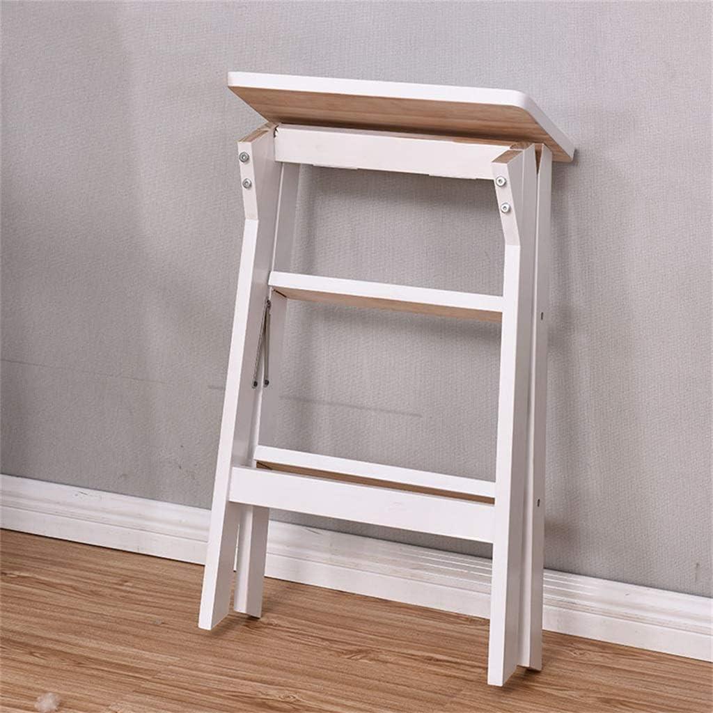Giow Tabouret Pliant portatif en Bois Polyvalent Petite Chaise d'échelle Creative Home escabeau de Cuisine Max Charge 150kg White