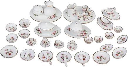 Preisvergleich für SODIAL(R) 50 Stueck Miniatur Puppenhaus Ess Geschirr Porzellan Tee Set Geschirr Tasse Plate rosa Gaensebluemchen