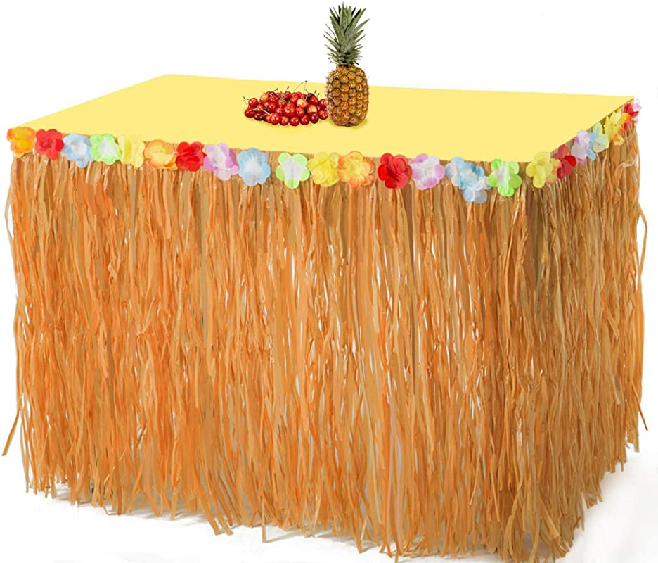 2PCS Luau Hawaiian Grass Table Skirt Decorations Hula Hibiscus Tropical Birthday Summer Pool Party Supplies