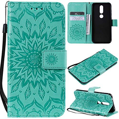 KKEIKO Hülle für Nokia 4.2, PU Leder Brieftasche Schutzhülle Klapphülle, Sun Blumen Design Stoßfest Handyhülle für Nokia 4.2 - Grün